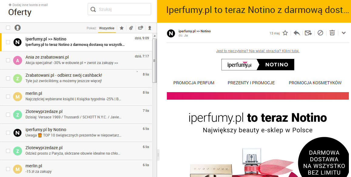 Notino highlighted in Interia.pl inbox
