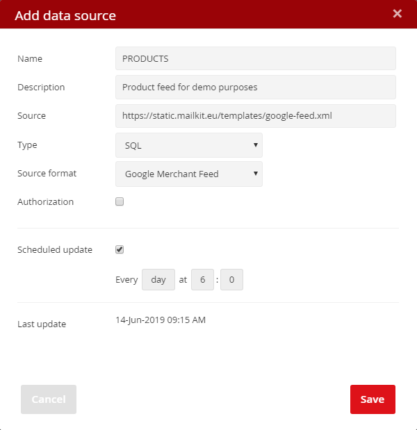 Adding a SQL data source from Google Merchant Feed