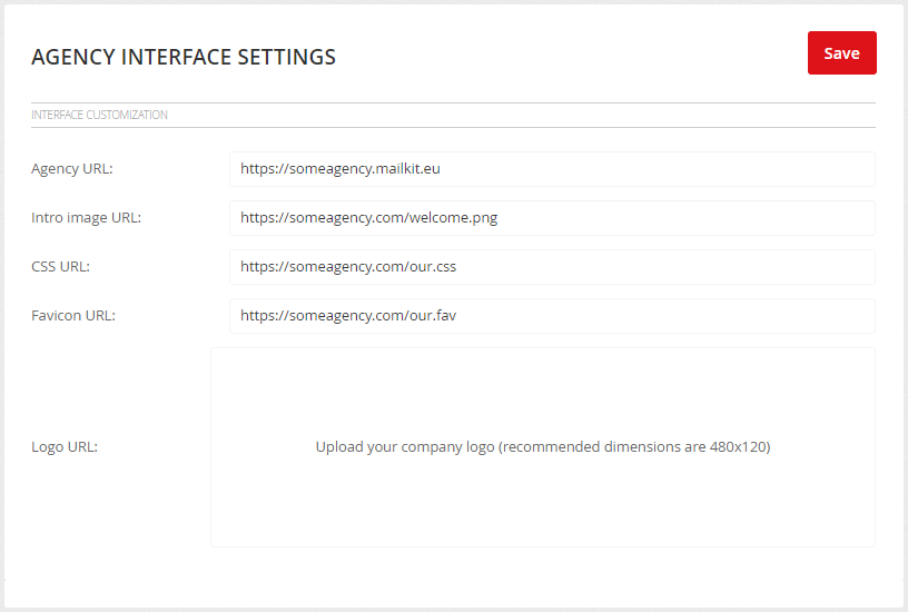 Agency interface settings
