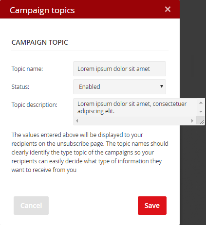Add campaign topic